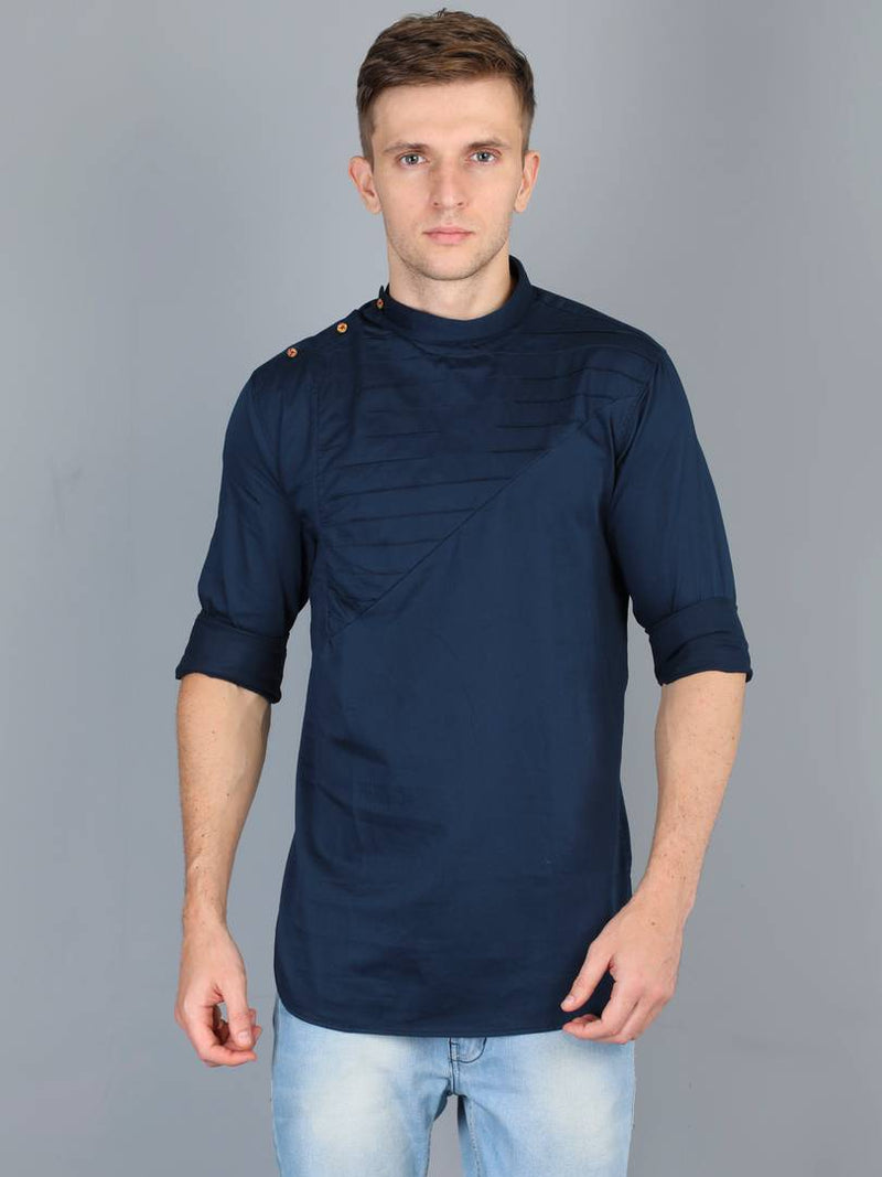 Stylish Men Casual Dark Blue Solid Mandarin Collar Kurta