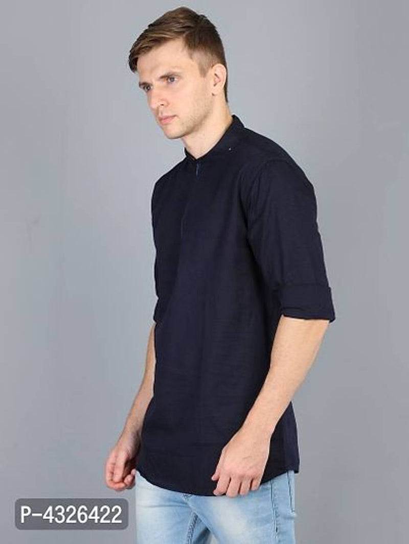 Stylish Men Casual Blue Solid Mandarin Collar Kurta