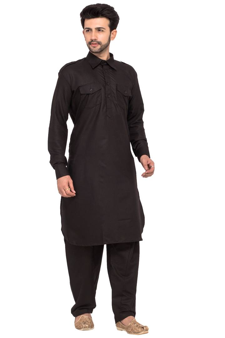 Ethnic Black Cotton Pathani Set