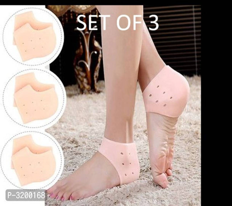Silicone Gel Heel Pad Socks for Pain Relief - 3 Pair (Beige, Free Size)