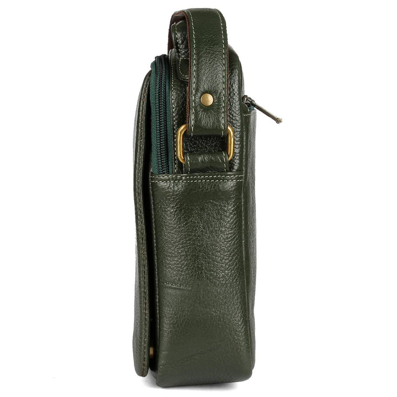Stylish Leather Green Massanger Bag For Men