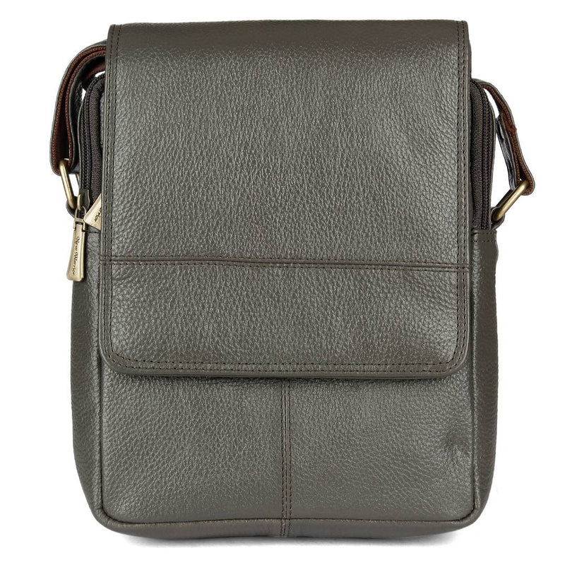 Stylish Leather Grey Massanger Bag For Men