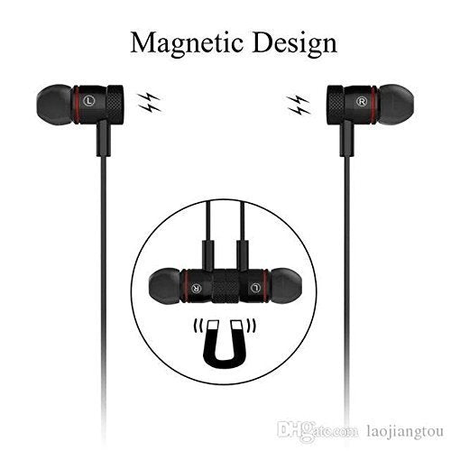Magnetic Waterproof Bluetooth Earphone with Hands-Free Mic and Controlling Buttons Compatible with All Android and iOS Smartphones