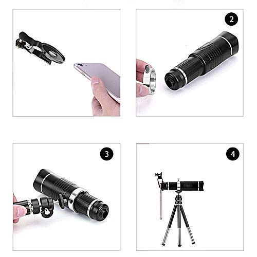 20x Universal Zoom Optical Telescope Lens for Mobile Phone with Clips for All Android Phones and iOS Devices