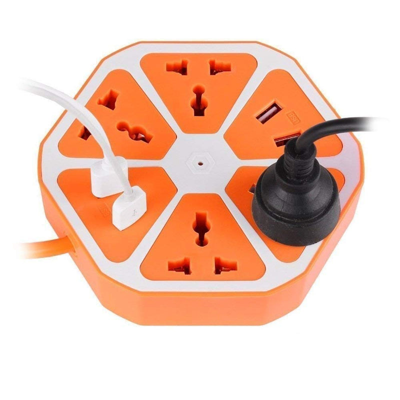 Hexagonal Power Extension with 4 USB ports and Surge Protection