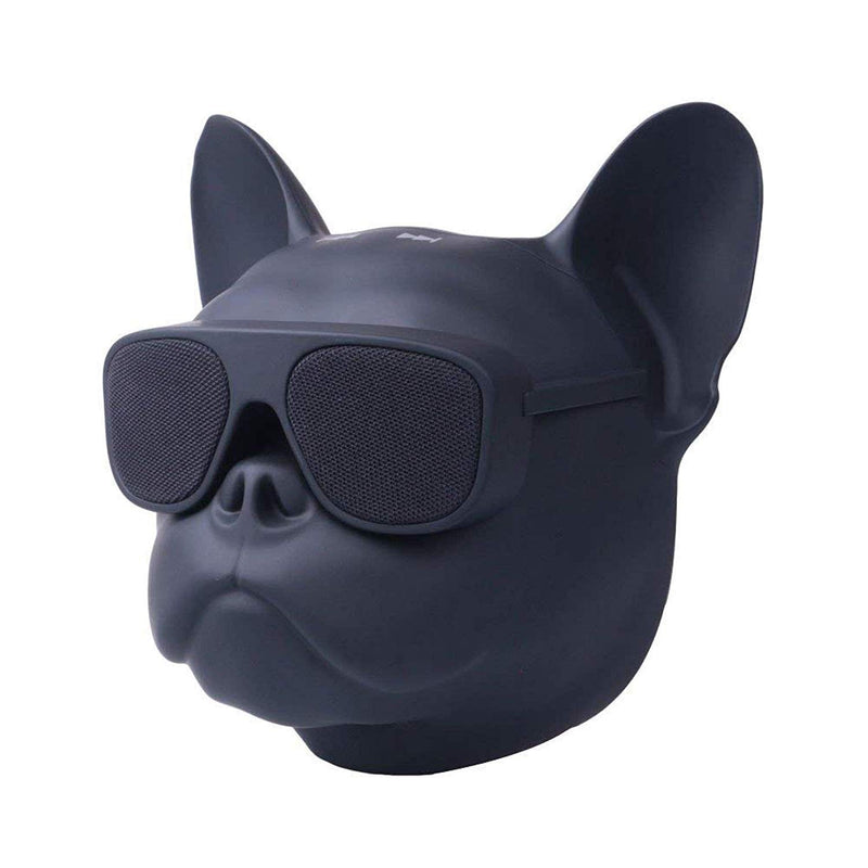 Riotwired Bull Dog Shaped Portable Wireless Bluetooth Speaker with HD Sound (Black, Small)