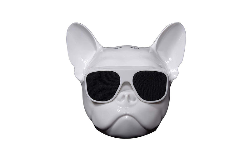 Riotwired Bull Dog Shaped Portable Wireless Bluetooth Speaker with HD Sound (White, Small)