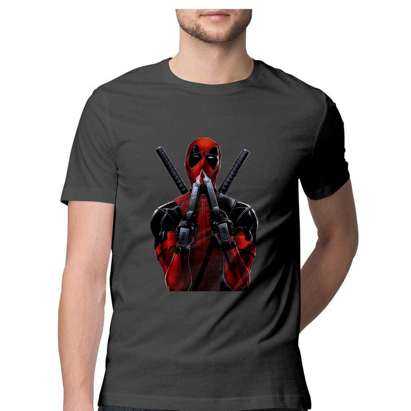 Deadpool Smoking Gun Regular Fit Printed T-Shirt