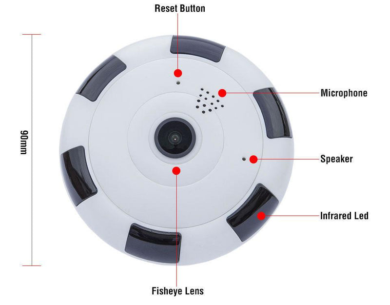 Riotwired V380 Home Security WIFI IP Panoramic Camera with 1080P Video 360 Degree View
