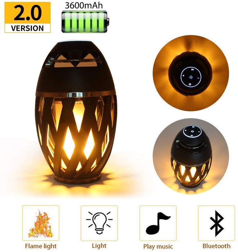 HD LED Flame Atmosphere Speaker Lamp with Bluetooth 4.2v