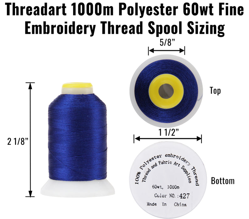 Micro Embroidery & Bobbin Thread 60 Wt No. 427 - Grey - 1000 Meters - Threadart.com