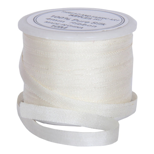 Silk Ribbon 4mm Cream x 10 Meters No. 501 - Threadart.com