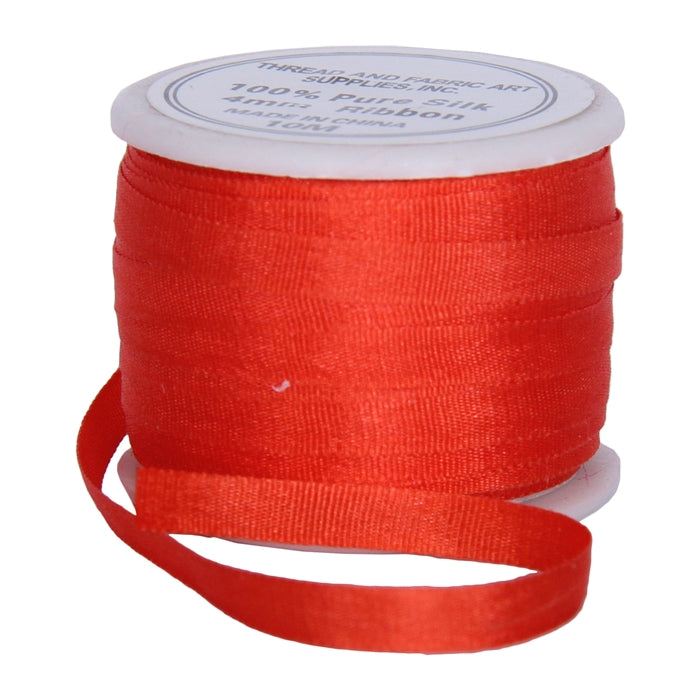 Silk Ribbon 4mm Poppy Red x 10 Meters No. 512 - Threadart.com