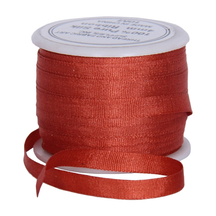 Silk Ribbon 4mm Auburn x 10 Meters No. 524 - Threadart.com
