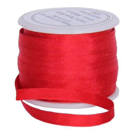 Silk Ribbon 4mm Red x 10 Meters No. 539 - Threadart.com