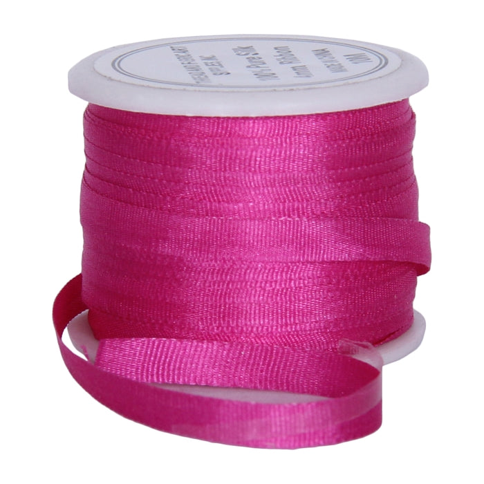 Silk Ribbon 4mm Magenta x 10 Meters No. 566 - Threadart.com