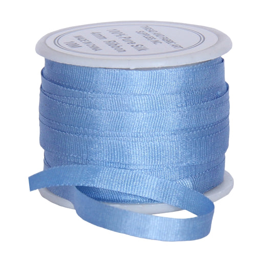 Silk Ribbon 4mm Med Blue x 10 Meters No. 585 - Threadart.com