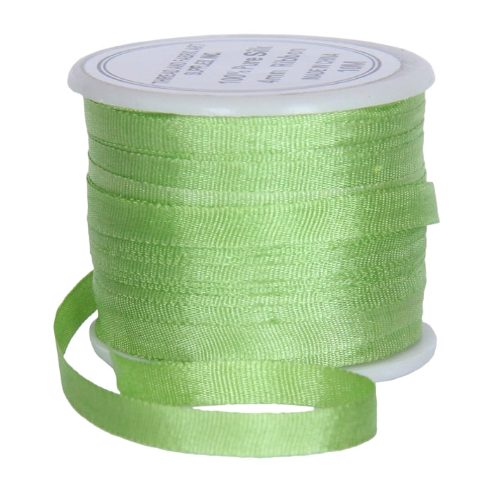 Silk Ribbon 4mm Lime Green x 10 Meters No. 642 - Threadart.com