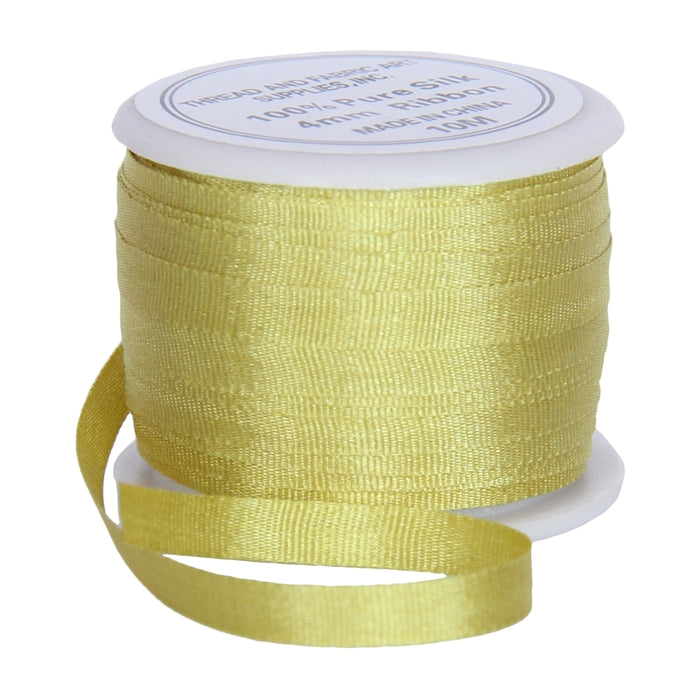 Silk Ribbon 4mm Yellow Green x 10 Meters No. 648 - Threadart.com