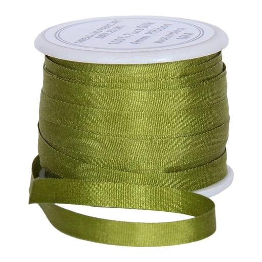 Silk Ribbon 4mm Avocado x 10 Meters No. 651 - Threadart.com
