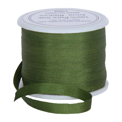 Silk Ribbon 4mm Dk Sage x 10 Meters No. 653 - Threadart.com