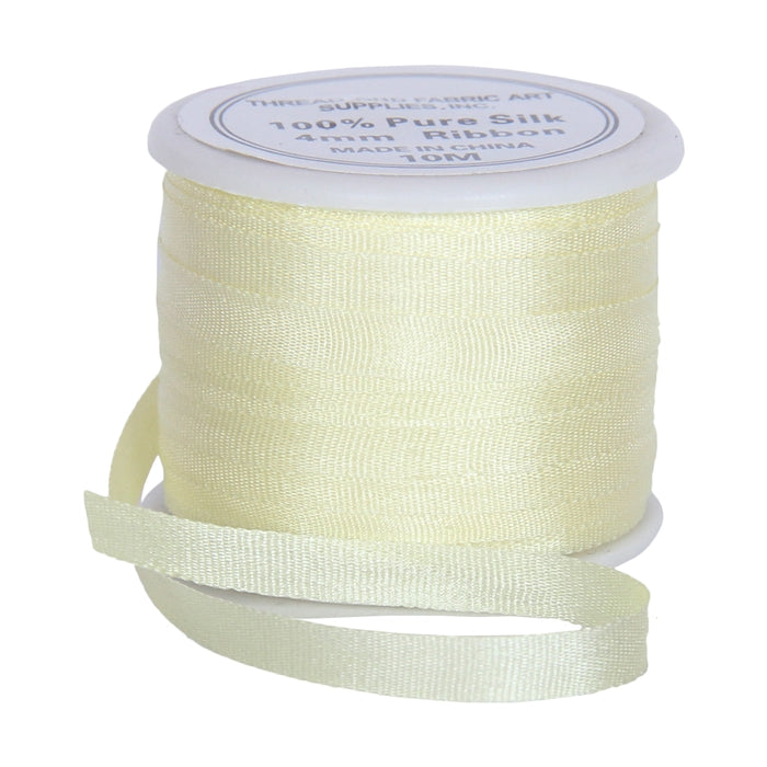 Silk Ribbon 4mm Lemon Yellow x 10 Meters No. 655 - Threadart.com