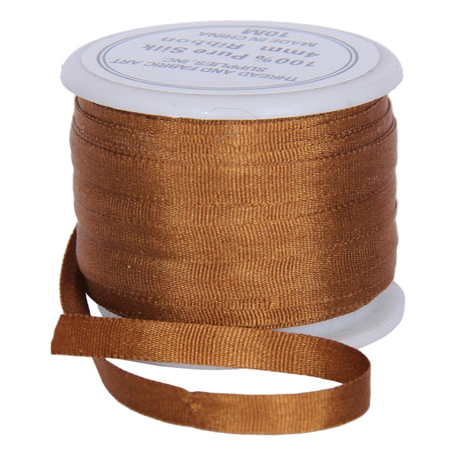 Silk Ribbon 4mm Golden Tan x 10 Meters  No. 668 - Threadart.com