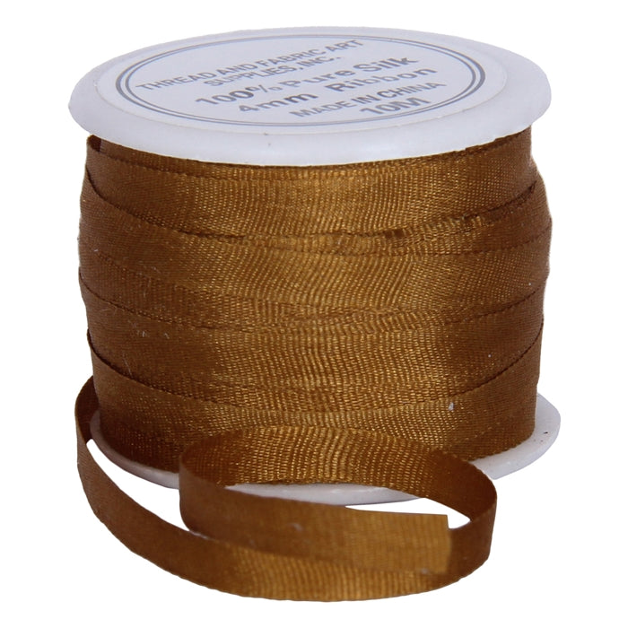 Silk Ribbon 4mm Brown  x 10 Meters No. 671 - Threadart.com