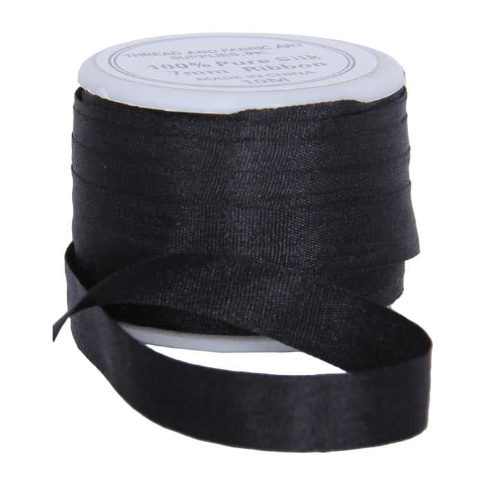 Silk Ribbon 7mm Black x 10 Meters No. 002 - Threadart.com