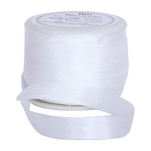 Silk Ribbon 7mm White x 10 Meters No. 003 - Threadart.com