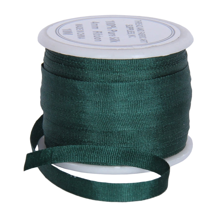 Silk Ribbon 4mm Emerald x 10 Meters No. 702 - Threadart.com