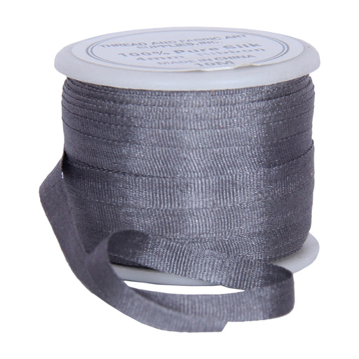 Silk Ribbon 4mm Grey x 10 Meters No. 704 - Threadart.com