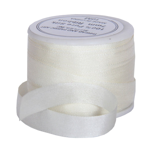 Silk Ribbon 7mm Cream x 10 Meters No. 501 - Threadart.com