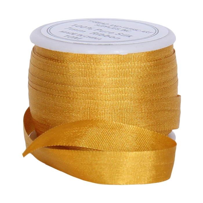 Silk Ribbon 7mm Orange Yellow x 10 Meters No. 511 - Threadart.com