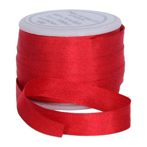 Silk Ribbon 7mm Red x 10 Meters No. 539 - Threadart.com