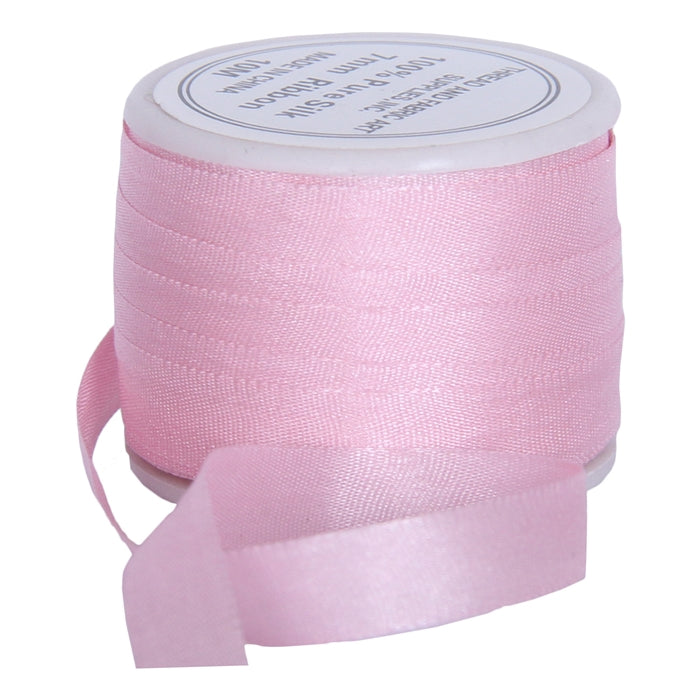 Silk Ribbon 7mm Pink x 10 Meters No. 544 - Threadart.com