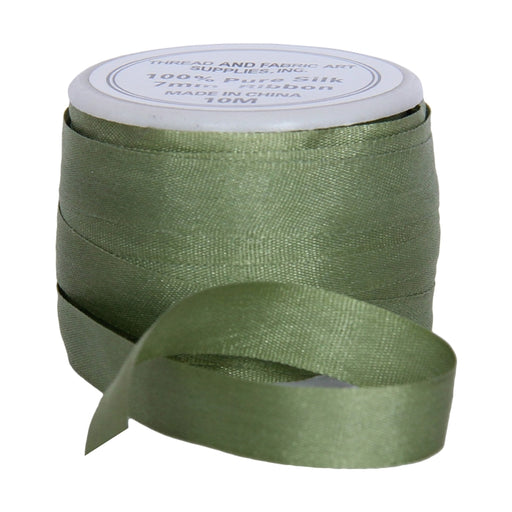 Silk Ribbon 7mm Sage Green x 10 Meters No. 633 - Threadart.com