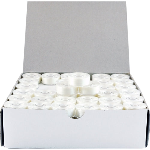 Prewound Embroidery Bobbins- 144 Count Per Box - Plastic Sided White - L Style - Threadart.com