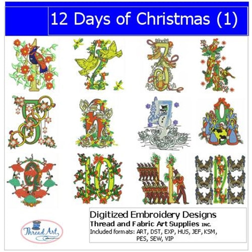 Machine Embroidery Designs - 12 Days of Christmas(1) - Threadart.com