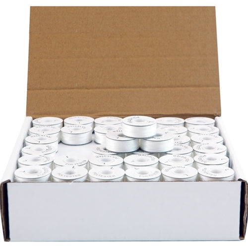 Prewound Embroidery Bobbins - 144 Count Per Box - White Cardboard Sided - L Style - Threadart.com
