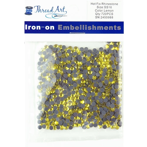 Hot Fix Rhinestones-ss16-Lemon - 720 stones - Threadart.com