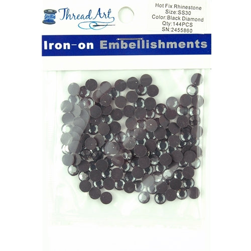 Hot Fix Rhinestones - SS30 - Black Diamond - 144 stones - Threadart.com
