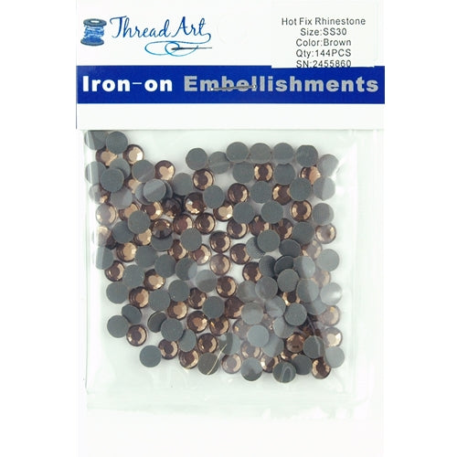 Hot Fix Rhinestones - SS30 - Brown - 144 stones - Threadart.com