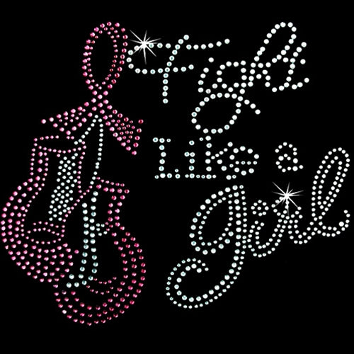 Hot Fix Rhinestone Heat Transfer Motif Fight Like a Girl - Threadart.com