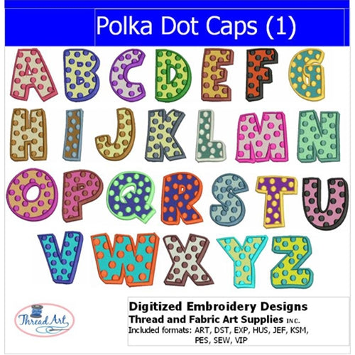 Machine Embroidery Designs - Polka Dot Cap Letters(1) - Threadart.com