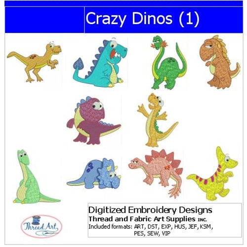 Machine Embroidery Designs - Crazy Dinos(1) - Threadart.com