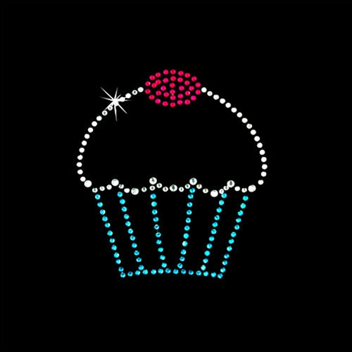 Hot Fix Heat Transfer Rhinestone Motif Cupcake - Threadart.com