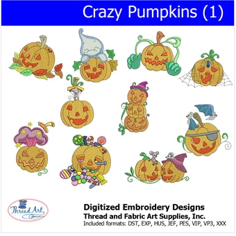 Machine Embroidery Designs - Crazy Pumpkins(1) - Threadart.com