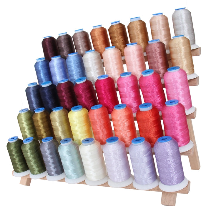 40 Colors Polyester Embroidery Thread Set-1000M Cones - Set D - Threadart.com