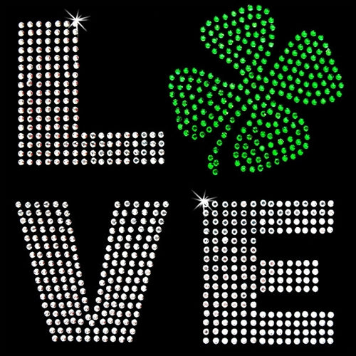 Hot Fix Rhinestone Heat Transfer Motif - Love Shamrock - Threadart.com